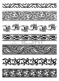 set of vector seamless floral borders photo