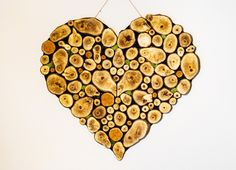 Serce - plastry drewna - project FiK - Ozdoby na ścianę