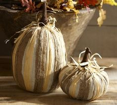 Burlap and Raffia Pumpkins from Pottery Barn ~~ DIY inspiration?