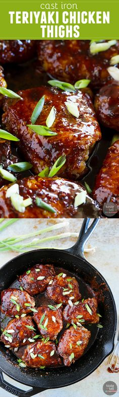 Looking for a skillet chicken recipe with crispy skin and tons of flavor? These Cast Iron Teriyaki Chicken Thighs are just that!