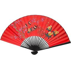 Oriental Furniture Inexpensive Asian Art, Decor and Gifts, 24-Inch Chinese Red Hand Painted Decorative Fan, Birds on Tree No.2 -bedroom