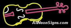 """Violin Logo Neon Sign-10149  13"""" Wide x 32"""" Tall x 3"""" Deep  110 volt U.L. 2161 transformers  Cool, Quiet, Energy Efficient  Hardware & chain are included  6' Power cord  For indoor use only  1 Year Warranty/electrical components  1 Year Warranty/standard transformers."""