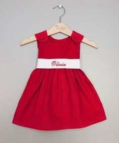 Princess Linens Red & White Personalized Sash Jumper - Infant, Toddler & Girls | zulily