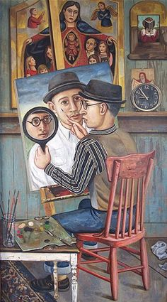 Rick&Brenda Beerhorst triple self portrait  oil on wood panel, this painting was inspired by a 14 century illuminated manuscript painting.