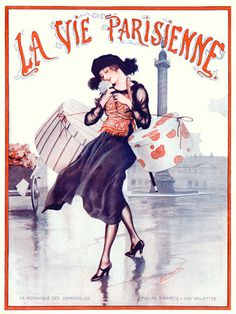 Chic French shopping expedition. La Vie Parisienne cover by Fontan. 1921   http://www.vintagevenus.com.au/vintage/reprints/info/PM120.htm