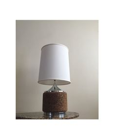 Mid Century Danish Modern Cork & Chrome Round Table Lamp 1970's