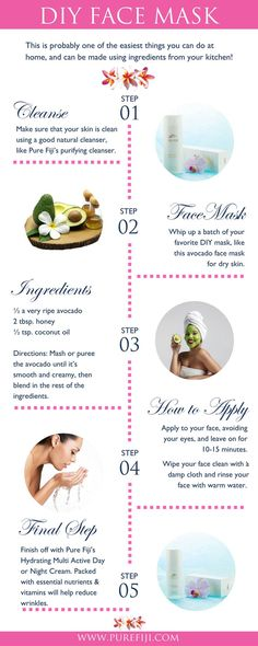 Don't have a full day to spend at the spa? Here are some simple and easy things you can do to create a DIY spa at home. Get your homemade DIY face mask recipe for dry skin at http://www.purefiji.com/blog/diy-home-spa/ | Natural Beauty Tips