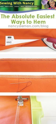 Learn Sewing With Nancy& Nancy Zieman& absolute easiest way to hem anything! Hand stitched hem blind hem stitch fusible hems and straight stitched hem. Sewing Hacks, Sewing Tutorials, Sewing Crafts, Sewing Tips, Sewing Ideas, Serger Sewing, Fabric Sewing, Dress Tutorials, Sewing Blogs