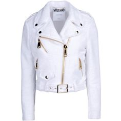 Moschino Jacket ($445) ❤ liked on Polyvore featuring outerwear, jackets, moschino, white, white zipper jacket, snap jacket, collar jacket, zip jacket and lapel jacket