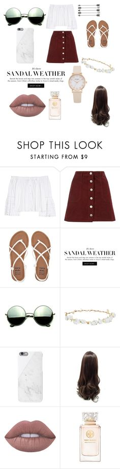 """#sandalweather"" by wonderlandlxver ❤ liked on Polyvore featuring Carolina Herrera, Miss Selfridge, Billabong, Revo, Robert Rose, Native Union, Lime Crime and Tory Burch"