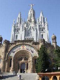 Sacred Heart Church, on Tibidabo, Barcelona, Spain travel-is-like-breathing Oh The Places You'll Go, Places To Travel, Travel Destinations, Places To Visit, Beautiful Buildings, Beautiful Places, Porches, Old Churches, Spain And Portugal