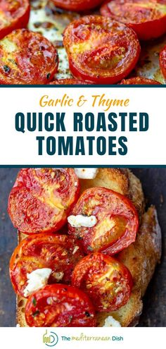 You'll love these quick roasted tomatoes with garlic and thyme. Make them ahead and use as needed as a delicious vegetarian side; tossed with pasta; or served bruschetta-style. Try these for a meal that is going to blow your mind! #comfortfood #roastedtomatoes #tomatorecipes Healthy Comfort Food, Healthy Meals For Kids, Easy Healthy Dinners, Vegetarian Recipes Easy, Good Healthy Recipes, Clean Eating Recipes, Easy Mediterranean Recipes, Mediterranean Dishes, Greek Chicken Recipes