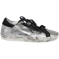 Golden Goose: Silver Superstar Sneakers (€287) ❤ liked on Polyvore featuring shoes, sneakers, silver, golden goose trainers, golden goose shoes, golden goose sneakers, silver sneakers and silver trainers