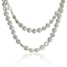 Bling Jewelry White Cultured Coin Pearl Long Strand Necklace * See this great product. Coin Jewelry, Pearl Jewelry, Diamond Jewelry, Jewelry Necklaces, Jewellery, Long Pearl Necklaces, White Pearl Necklace, Overstock Jewelry, Multi Strand Necklace