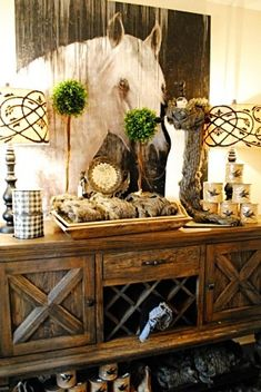 Instead of the typical mirror over the sideboard, with a gold frame around it. Make it a rustic glam. Equestrian Decor, Western Decor, Rustic Decor, Farmhouse Decor, Equestrian Style, Rustic Buffet, Rustic Sideboard, French Farmhouse, Rustic Table