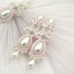 Pearls wedding earrings, bridal earrings long, wedding earrings and bracelet set, Handmade Wedding jewelry set, Soutache earrings - Pink and ivory white pearls earrings and от byPiLLowDesign на Etsy - Handmade Wedding Jewellery, Wedding Jewelry Sets, Bridal Jewelry, Handmade Jewelry, Soutache Necklace, Beaded Earrings, Earrings Handmade, Pearl Earrings Wedding, Thread Jewellery
