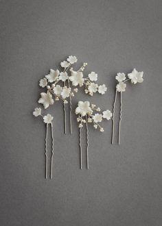 14e560b5e LAURETTE floral wedding hair pins 3 Wedding Hair Pins, Headpiece Wedding,  Dress Wedding,