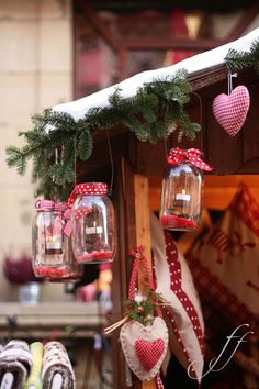 Cozy Country Christmas Cute over the porch Fun to use cranberry as the bottom and use solar tops from $dollar tree