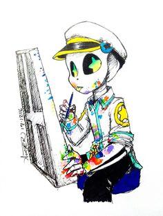 Me fui a la habitacion de Palette y lo vi dibujando y se veia muy kawaii