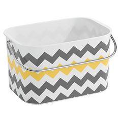 InterDesign Una Basket, Gray/Yellow Chevron