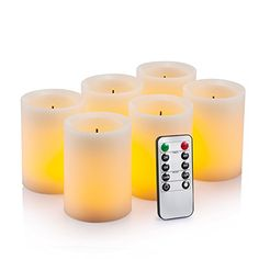H5 6 7 x D2.2 Real Wax Pillars Realistic Dancing LED Flames Candles with 10-key Remote Control 24-hour Timer Function HIFROM Flameless Candles Set of 3