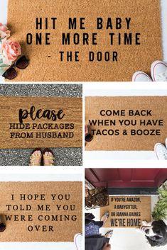 Drool-Worthy Welcome Mats - little blonde mom Entry Mats, Front Door Mats, Diy Door Mats, Porch Mat, Diy Porch, Front Porch, Funny Welcome Mat, Welcome Mats, Decor Crafts