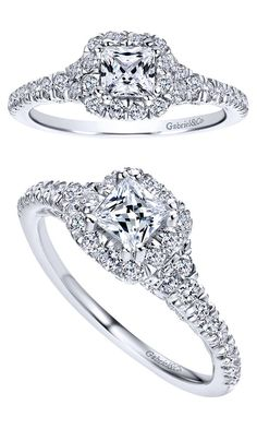 Gabriel & Co. - A 14k White Gold Contemporary Halo Engagement Ring.