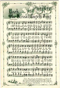 Hark The Herald Angels Sing Christmas Carols Songs, Christmas Songs Lyrics, Christmas Sheet Music, Christmas Tree Lots, Christmas Arts And Crafts, Christmas Makes, Christmas Pictures, Christmas Projects, Vintage Christmas