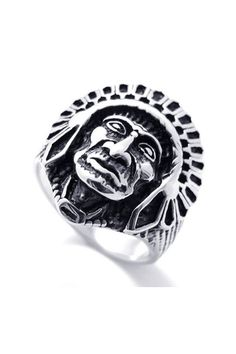 This ring made of alloy, featuring Indian face pattern embellishment, all in retro style design.$30