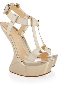 9719bdd9804 Giuseppe Zanotti - Metallic leather wedge sandals