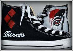 Custom Womens Shoes Harley Quinn Shoes Painted by PricklyPaw