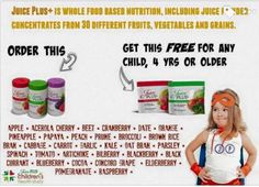 JUICE PLUS+ :-) Fruits and vegetables in a capsule or in gummies for kids .  Bridging the gap between what we do eat and what we neeeed to eat.  Not a vitamin but rather real food and only real food which includes the phytonutrients and micronutrients.  GMO free...Organic...NSF certification...research backed.  When one adult buys one trio (orchard blend -reds, vineyard blend -purples, and garden blend -greens) that person gets a FOUR year, yes FOUR year supply of Juice Plus+ gummies for a…