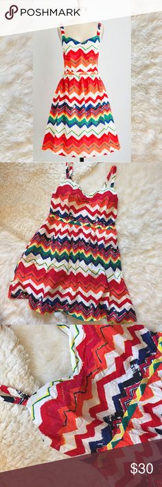 Modcloth Rainbow Chevron Sun Dress Chevron print dress. Completely lined. Zips at back. 💫 Smoke free home. Offers are welcome! No trades, please. Bundle multiple items for a discount and only pay for shipping once! ModCloth Dresses