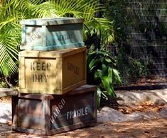 Jungle Party: Invitations, Decorations, Art Activities, Games, and More. I like these ominous crates. Another project that could be made from pallets.