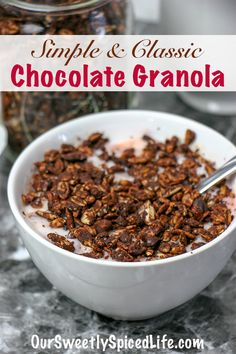 This classic healthy chocolate granola is loaded with seeds & gluten free grains, drenched in guilt-free chocolate sauce, & baked to perfection! Healthy Homemade Snacks, Healthy Sweet Snacks, Healthy Sweets, Easy Snacks, Healthy Breakfast Recipes, Vegan Breakfast, Healthy Brunch, Healthy Eating, Healthy Recipes