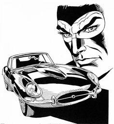 The Perfect Anti-hero: Diabolik and the Jaguar E-Type Diabolik, Comic Styles, Cartoon Styles, Jaguar E Type 1961, Vintage Cowgirl, Vintage Cars, Bd Comics, Funky Art, Comic Panels