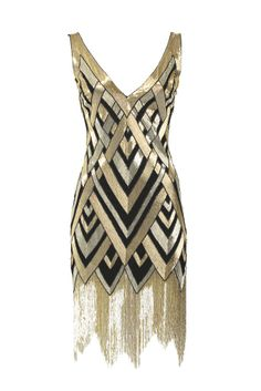 Bergdorf Goodman's Anniversary Collection: Naeem Khan's silk georgette dress with metallic glass beads.    gorgeous art deco dress