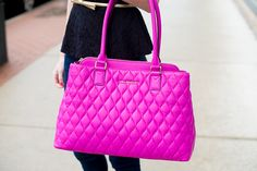 @kellyinthecity shows off our new   Quilted Emma Satchel in Magenta