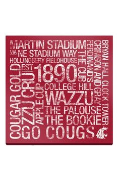 "Washington State College Colors Subway Art - 24"" x 24"" by Sports Collection on @HauteLook"