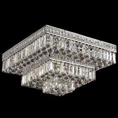 Dale Berlin Square Flush Mount Crystal 21-Inch Ceiling Light - eurostylelighting.com
