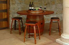 Wine Barrel Furniture Made from Recycled Wine Barrels.