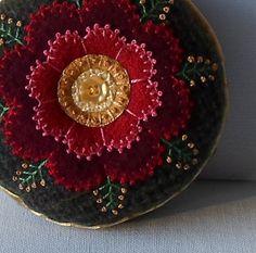 Handmade Pincushion Felted Wool Red & Gold Flower