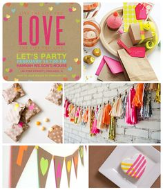 Neon Valentine's Day Party Inspiration Board on the Tinyprints Blog