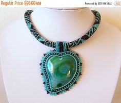 15% SALE Beadwork Bead Embroidery Pendant Necklace with от lutita