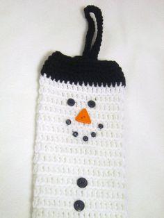 Crochet Snowman Plastic Bag Holder Walmart by crochetedbycharlene, $20.00