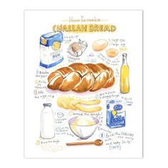 "Challah bread recipe Archival giclee reproduction print. Signed with pencil. Printed on fine art "" BFK Rives "" hot-pressed paper, smooth surface, 140 lb, 100% cotton (acid free ), using archival pigme"