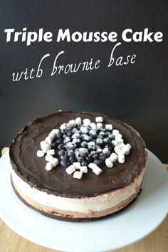 Τούρτα με τριπλή μους και βάση brownie - Craft Cook Love