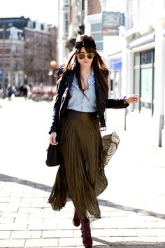 olive accordion maxi skirt, chambray button down, black blazer