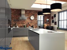 Sponsored By Magnet: This winter Magnet has added to its innovative range of stylish and quality kitchens. I have been particularly charmed by the new Integra Astral Grey kitchen.This smooth,. Kitchen Board, Kitchen Tiles, Kitchen Design, Floor To Ceiling Cabinets, Gray And White Kitchen, Industrial Style Kitchen, Brick Tiles, Quality Kitchens, Kitchen Collection