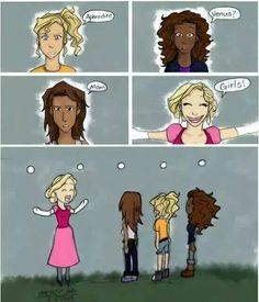 Annabeth knows.  Hazel is confused. Then Piper is pissed off. Then Aphrodite is like OH WHY HELLO GIRRRRLLLLSSSSS!! HOW HAVE YOU BEEN?!?!!